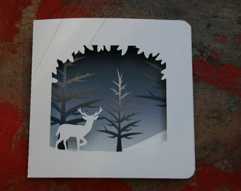 Card - deer, forest in the background