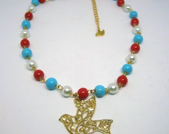 Peace dove necklace, Blue, white and red glass beads chain necklace, dove necklace, bird necklace, peace necklace