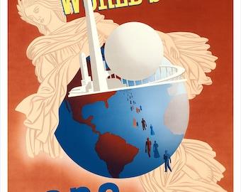 1939 New York World's Fair poster print - New York City Worlds Fair art - Lady Liberty Persisphere Art Deco design - Art by John Atherton