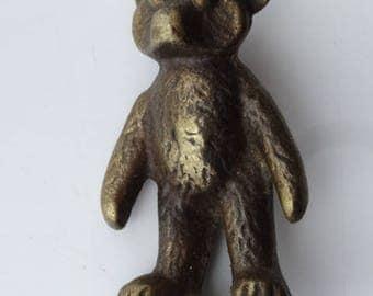 Brass Rupert Bear Cute Figure Statue Vintage - os