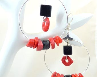 Hoop earrings with red coral and black glass beads
