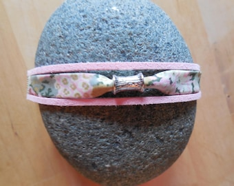 Bracelet liberty floral, pink suede and silver metal cylinder