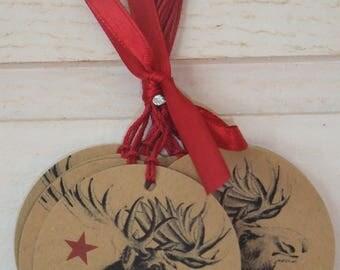 Set of 12 Kraft reindeer Christmas tags