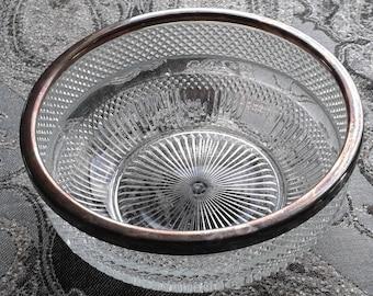 """Antique Silver Rimmed Crystal Serving Bowl 8 1/2"""" Diameter"""