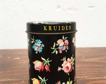 Small herbs can with flower print