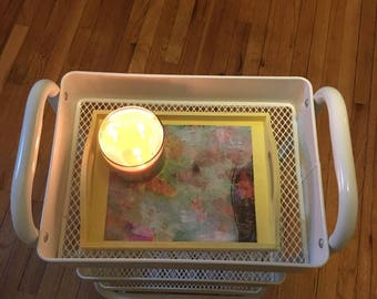 Serving Tray with Watercolor Decoupage