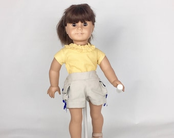 Khaki Cargo Shorts - 18 Inch Doll Clothes, AG Doll Shorts, Handmade Cargo Shorts for American Girl, Our Generation or Journey Girl Doll