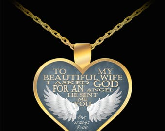 To my beautiful wife - God sent me you, an angel -gold pendant necklace