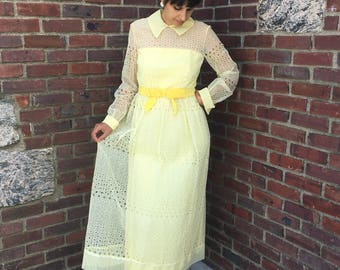 late 60s yellow eyelet jack bryan gown