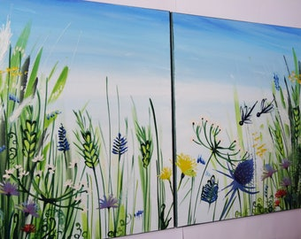 Diptych painting oil on canvas