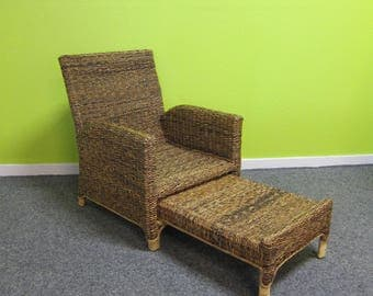 Rattan Armchair with pull out footstool - perfect for a bedroom or conservatory