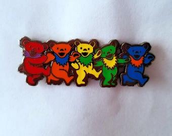Grateful dead dancing bear set dead head rainbow dead and company heady edm festival rave enamel pin lapel pin hat pin