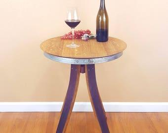 Wine Barrel Inverted Leg Side End Table Rustic Furniture
