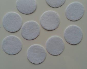 lot de 10 ronds de feutrine  de couleur blanche 20mm