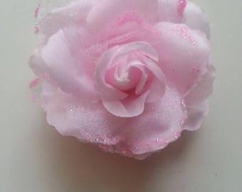 rose  en tissu pailletée  rose  70mm