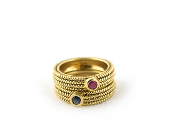 18K woven gold stackable rings