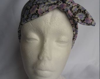 Purple floral hair band, recycled vintage fabric