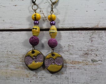 One of us, earrings yellow and purple beads and charms