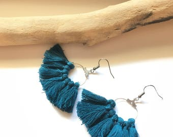 Earrings tassel earrings blue teal & silver tassel pom pom pom pom crochet black earrings