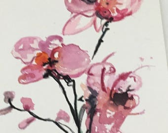 Original watercolour of a pink orchid
