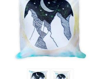 Watercolor Mountain Scene Throw Pillow