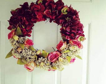 New Burgundy Hydrangea and Rose Wreath with Queen Ann's Lace
