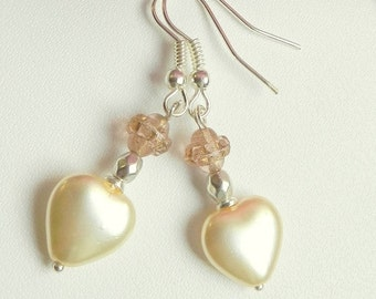 White with pink heart shaped bridal earrings