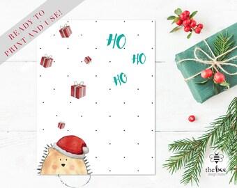 Merry Christmas Ho Ho Ho Card Printable. Tarjeta navideña imprimible
