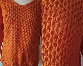 Sweater Pumpkin 36/38 Knitted Orange V-neck