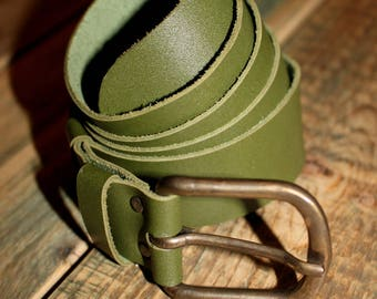 leather belt, dark green color