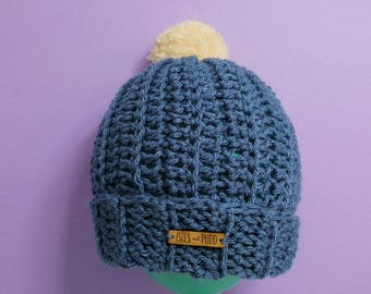 Adults | DENIM BLUE | Crocheted Bobble Hat | Cream Pom Pom