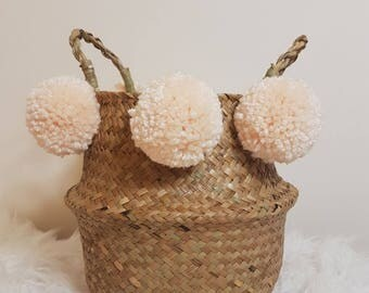 Seagrass Belly Pom Pom Basket | With Cream Pom Poms | Storage Basket Kids Nursery Plant Pot