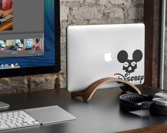 Disobey Decal Sticker for Macbooks and other Laptops | Grunge Style Mickey Skull Laptop Decals | Fight for your rights moto, mac