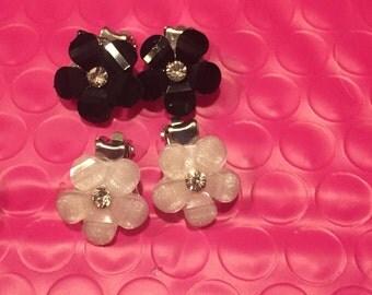 Flower clip on earrings