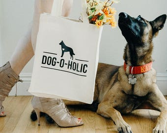 Dog-O-Holic   Canvas Tote Bag   Dog Lover Gift   Fur Momma   Dog Mom   Tote Bag   Dog Mom Gift   personalized bags and totes