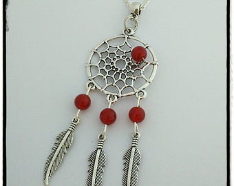 Red agate and silver dream catcher necklace.
