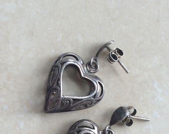 1980s Sterling Silver Filigree Heart Drop Earrings, never worn