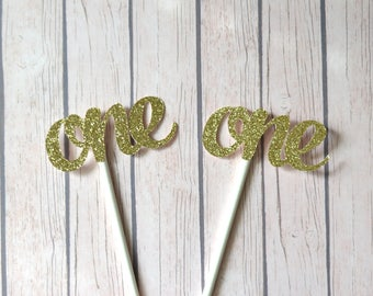 First Birthday Cupcake Toppers, 1st Birthday Cupcake Toppers, One Cupcake Toppers, Gold First Birthday Cupcakes