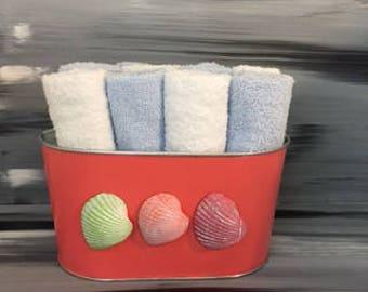 Coral Beach Bathroom Bin - Bathroom Wash Cloth Bin with Seashells. 6 light blue and 6 white wash cloths.