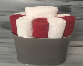 Gray Bathroom Towel/Wash Cloth  BIn with 1 white hand towel, 5 white and 5 red wash cloths.