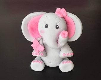 Baby Elephant Cake Topper Girl , Baby Shower Elephant Topper. Fondant Girl Elephant  Baby Shower