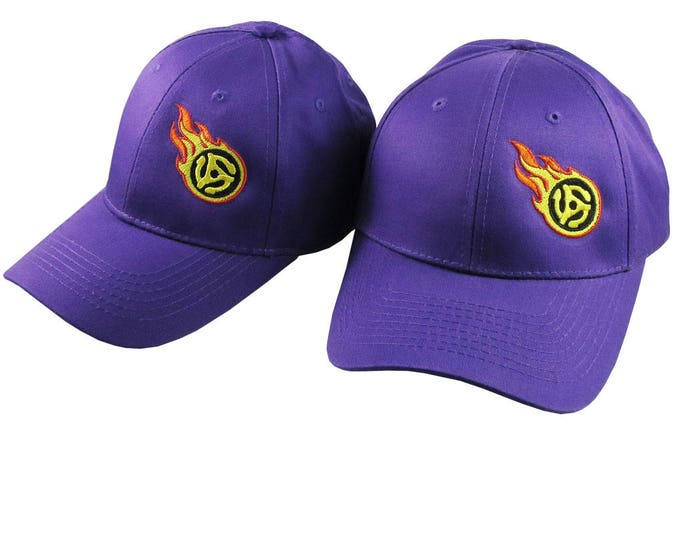 Pair of Disc Jockey 45 Spacer Fire Bullet Embroidery Designs on 2 Purple Adjustable Structured Baseball Caps for Adult + for Child Age 6-14