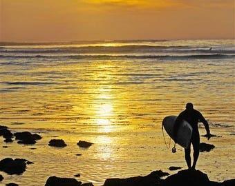 Surfer at Sunset, Southern California Coast, photo