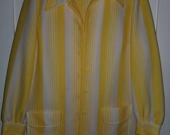 Vintage 60s 70s Canary Yellow Striped Blazer