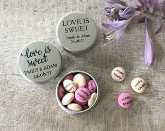 Personalised Wedding Favour Sweet Tin Pack of 10