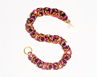 Beautiful Pink, Gold and Orange Byzantine Weave Chain Maille Bracelet