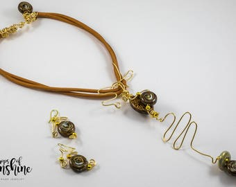 Caramel dreams necklace and earrings