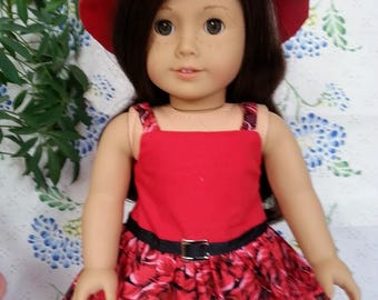 American Girl Doll-Red Tank Dress with Floral Skirt and Red Hat