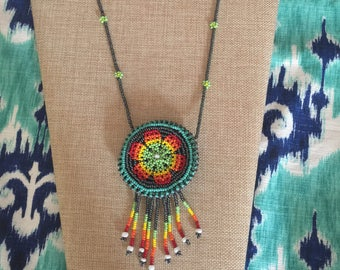 Beautiful Bohemian Handmade Dreamcatcher Mandala Rainbow Beaded Satchel Necklace