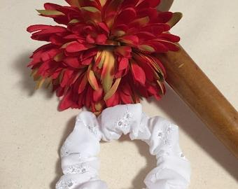 White Scrunchie   Scrunchies   White Scrunchies   Eyelet Scrunchies   White Eyelet Scrunchie   Flower Girl   Wedding Day   Beach Wedding